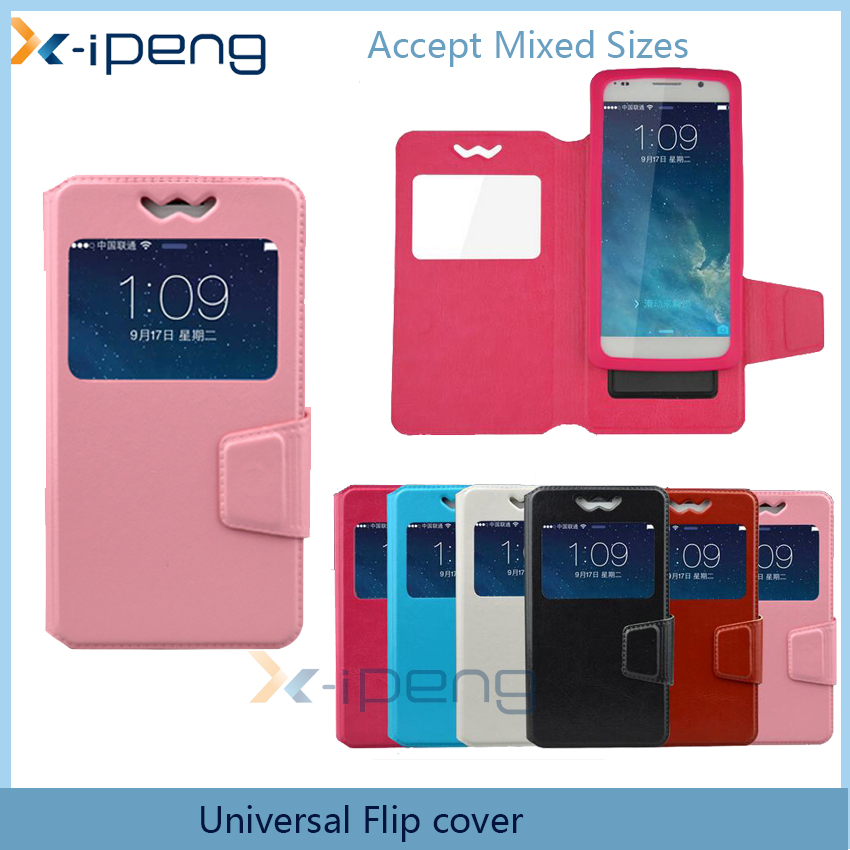 new 2016 universal pink color mobile phone card holder stand flip cover case leather wallet