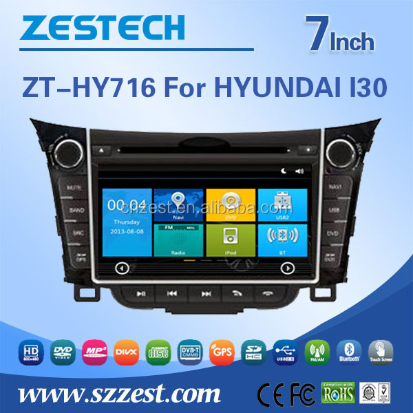 for hyundai i30 car dvd gps navigation system with HD display bluetooth and support Ipod USB/SD Radio TV Rear camera