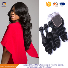 8A Brazilian Loose Wave With Closure Loose Deep Wave With Closure Remy Human Hair