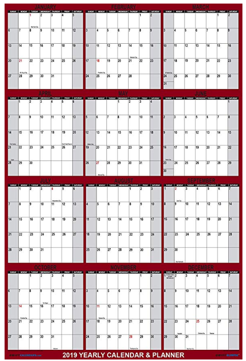 2020 Custom Laminated 2 Sided Horizontal/Vertical Reversible Yearly Poster Wall Calendar Planner