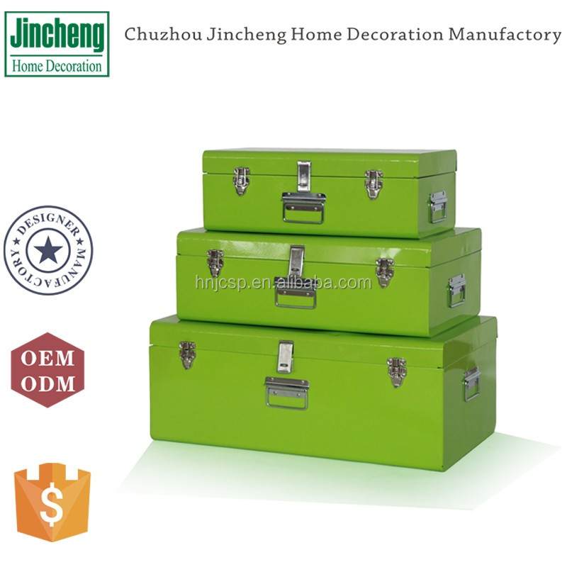 New arrival home decor green set of 3 rectangular metal trunk