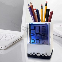 Colorful led office table pen holder/fashion square rouned plastic pen holder with led light clock/color light penholder