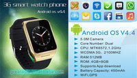 Android 4.4 OS 3G smart watch phone MTK6572 chip with wifi Bluetooth and camera