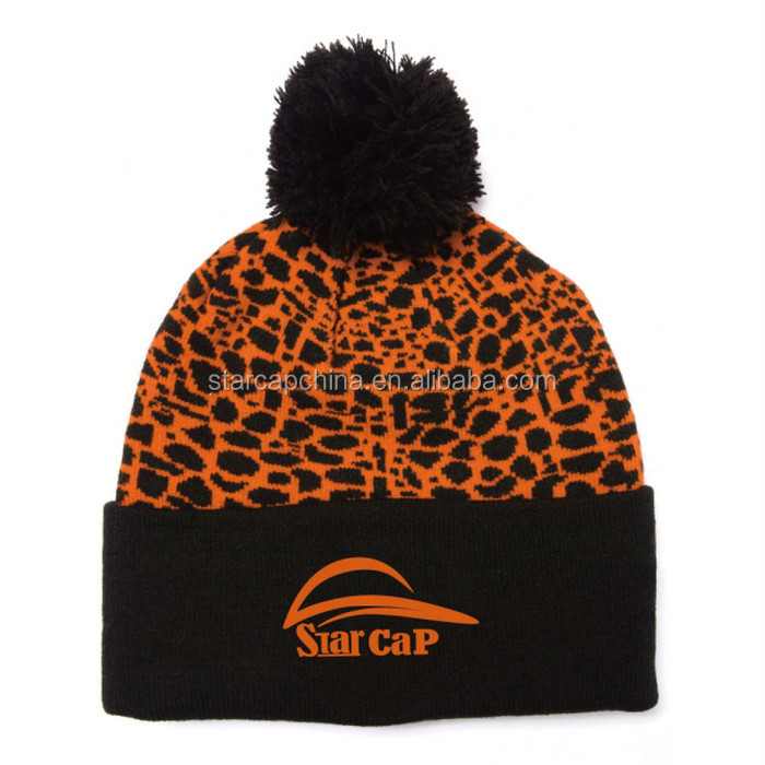 WHOLESALE CUSTOM 3D EMBROIDERY LOGO KNITTED LEOPARD SEXY BEANIE HAT WITH A TOP BALL