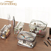 new design PVC cosmetic bags makeup young girl toiletry bag custom clear glitter cosmetic cases