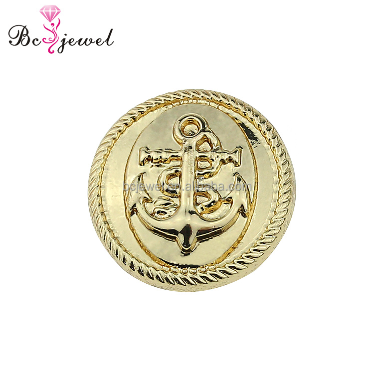 Guangzhou Factory 2017 Free sample gold color Sewing coat button fashion anchor shape design garment metal button wholesale