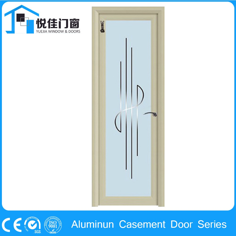 High Quality Interior Home Frame Tempered Casement Modern Aluminum Toilet Bathroom Door Design With Frosted Glass
