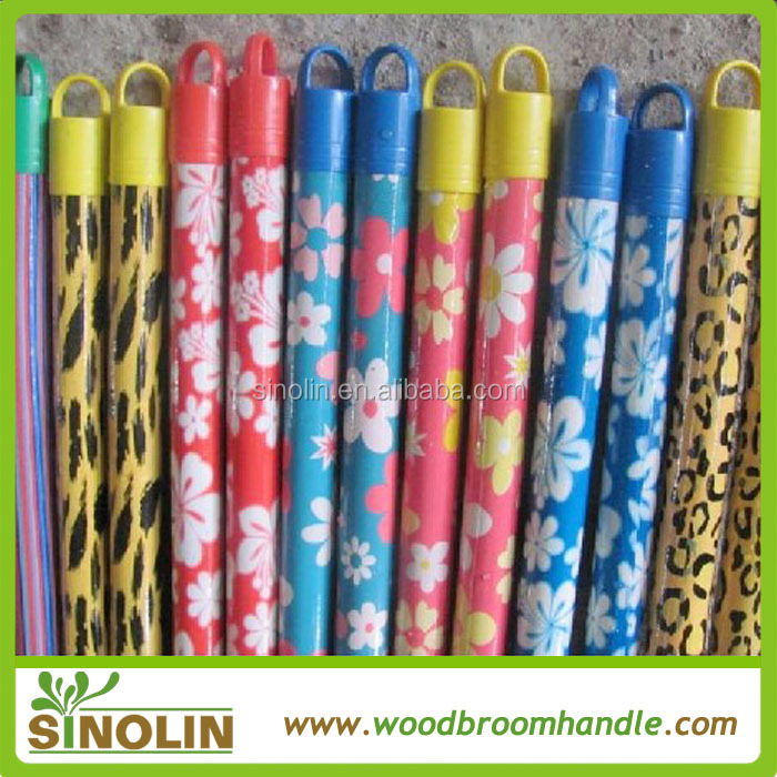 SINOLIN Colorful cap flower design PVC coated wooden broom stick