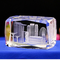 3D laser engraving Singapore architectural model crystal paperweight