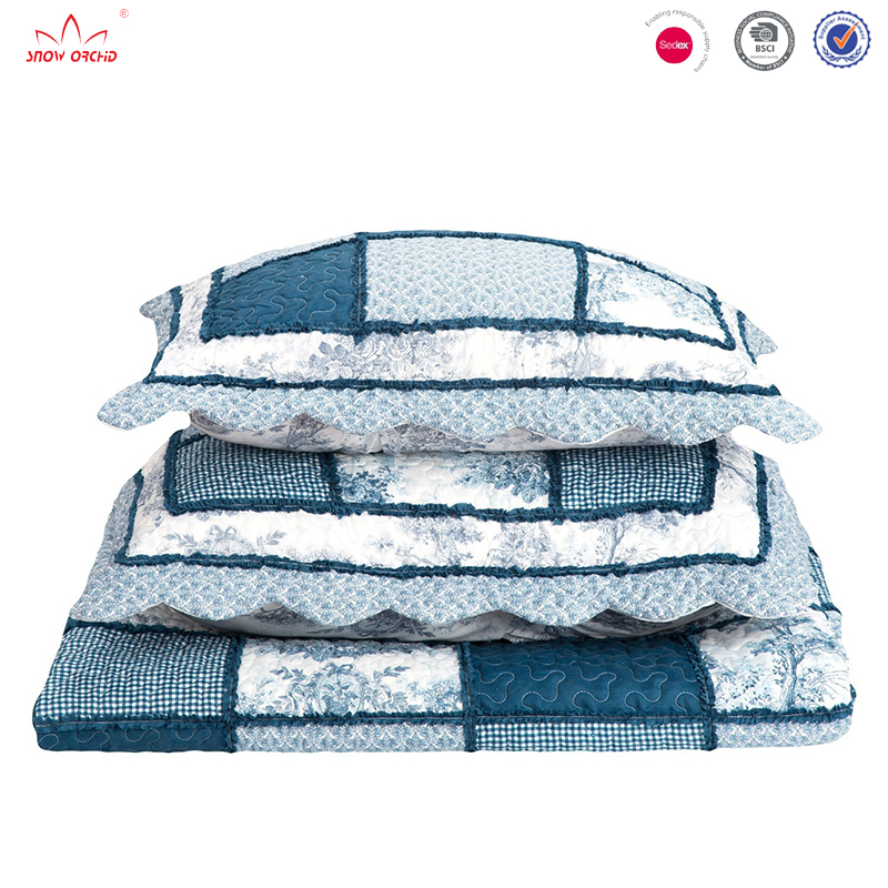Chinese style blue printed quilt required microfiber coverlet set embossed edge patchwork bedspread
