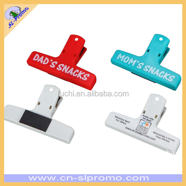 4 inch Plastic Keep it Clip For Stationary Paper And Bag With Custom Logo and Magnet Back