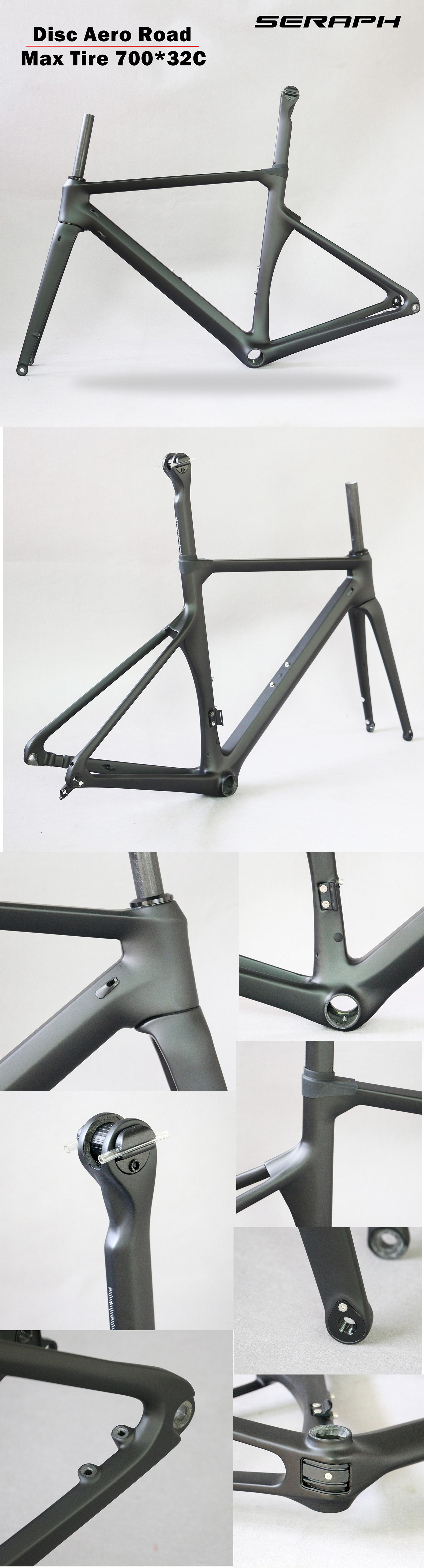 2019 Flat mount disc brake  carbon frame TT-X16 Aero  Carbon Road Racing Frame Wheels 700*32C