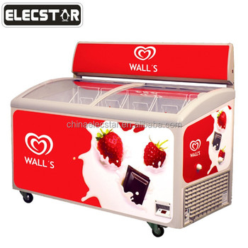 curved glass door chest freezer, Ice Cream Display Freezer with Volume Optional of 136, 218, 280, 336, 352, 406, 517 and 587L-1