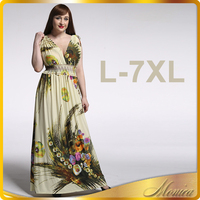 Beach Dress Plus Size 6XL Dresses Women Summer Casual Clothing Bohemian Silk Floral V-neck Maxi Dress Casual Vestido
