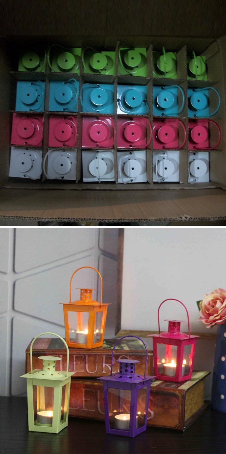 Coloful Tabletop Decoration Metal Mini Wedding Favors Mini Lantern ...