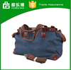 Retro canvas genuine leather handle duffle bag