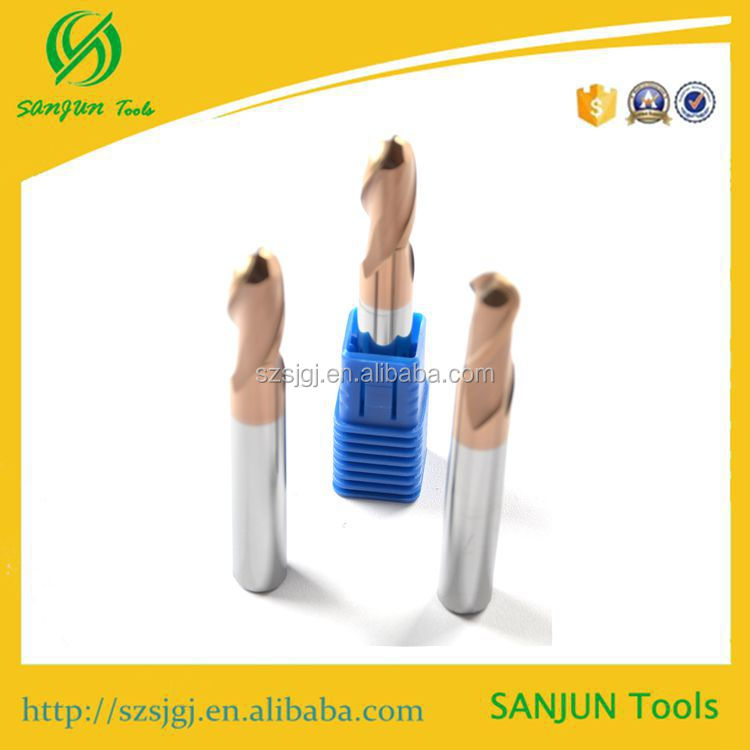 Carbide flat face extra power tools / carbide cutting tools 58 HRC R5*10*75L CNC carbid ball nose end mill