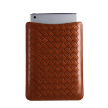 Soft tan cow leather weave pouch knit holder a little groove plait pouch for ipad mini