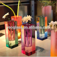 modern art unique k9 crystal flower shaped decorative customized glass vase in hot sale