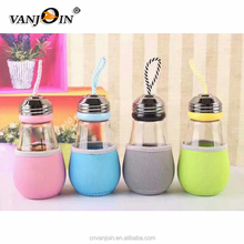 400ml Light Bulb Shaped Drinking Glass Water Bottle With Rope And Lid