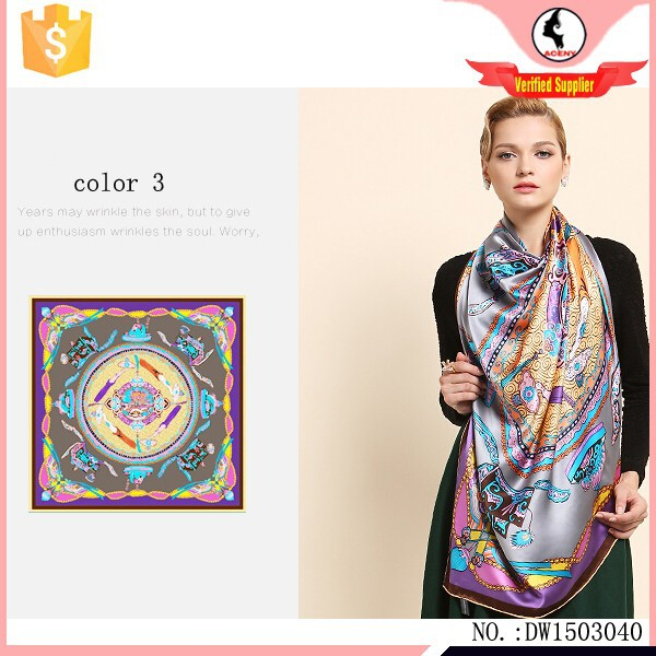 2015 Fashion trend digital print pure silk scarf