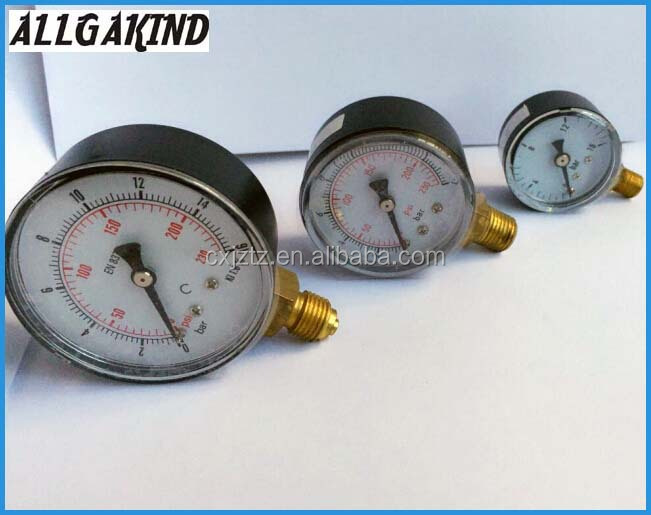 Y63A Low Pressure Gauge With Black Case Or Plastic case Plastic Snap-in Len Bottom Connction
