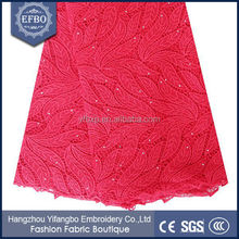 2016 red color 80-150 cm width bridal diamond weave nigerian cord lace fabric for brithday party dress