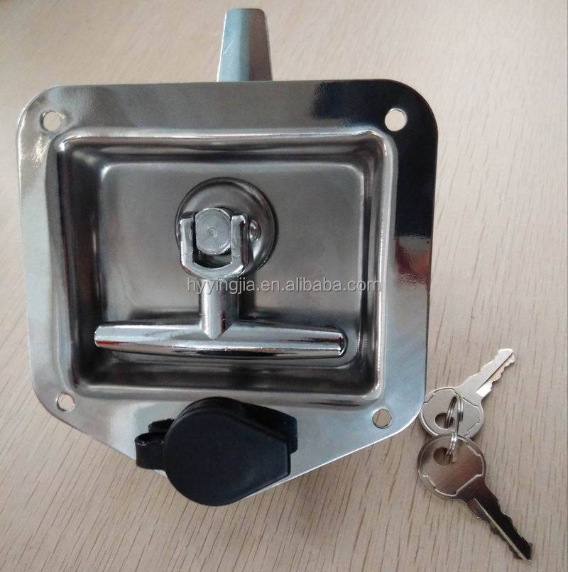 03104 stainless steel trailer tool box recessed T handle locks latches