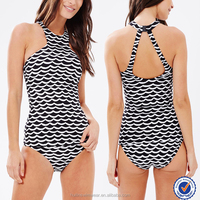 Wholesale fashion black and white wave print young girls sex one piece swimwear