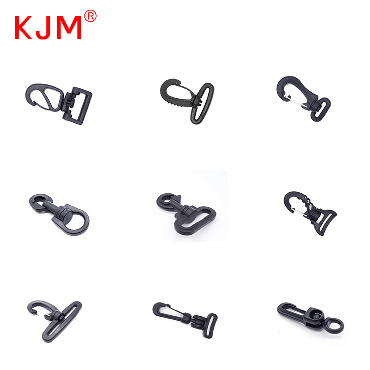 Bag Clasps Lobster Swivel Trigger Clips Plastic Snap Hook Black
