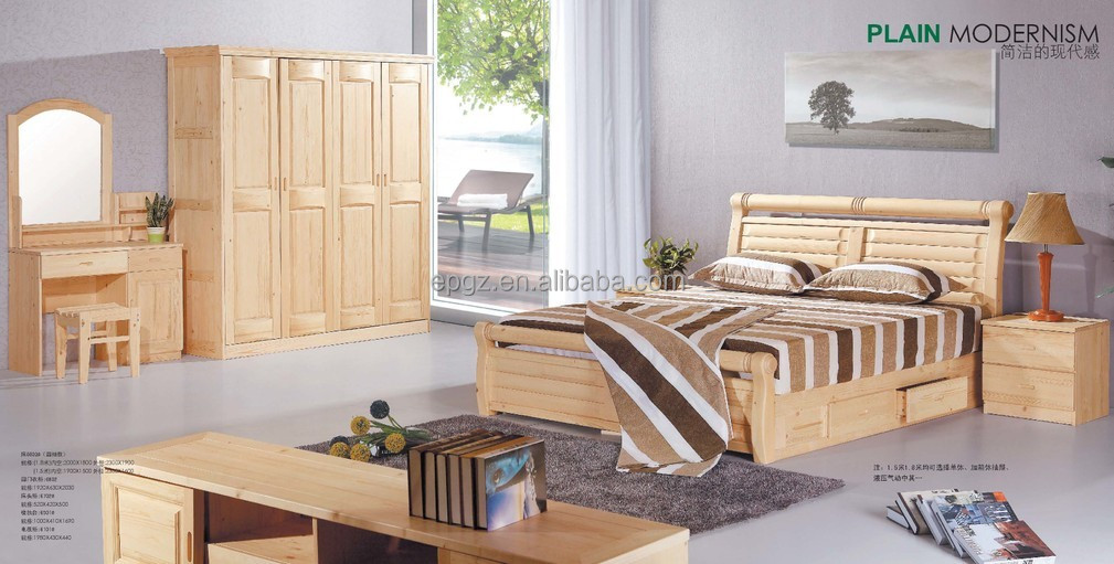 Bedroom Furniture Solid Pine Wood Bed Frame Knocked Down Bed Base