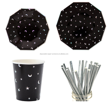 "Black Bronzing Silver Stars Moon Paper 7"" 9"" Plates Paper Cups BBQ Party Disposable Tableware"