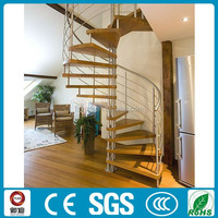 modern design indoor use stainless steel oak wood spiral stairs design with painting color