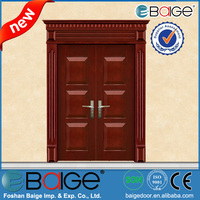 BG-SW9101 Teak Wood Main Double Door Wooden Design
