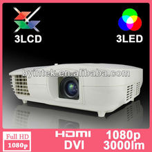 Full HD,Perfect,bright colors ,Native 1920x1080,multimedia 3D +3LCD + 1080p LED Projector