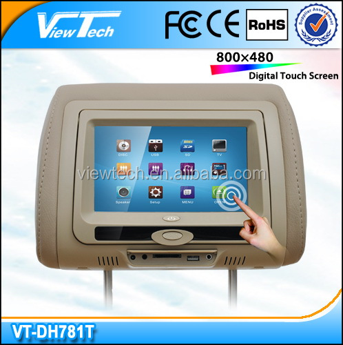 Shenzhen hot 7 inch touch screen headrest car dvd player built in USB SD bluetooth wireless game