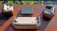 VIRO quality wicker outdoor deep seating deck set with 3 seater sofa miami rattan furniture