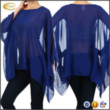 OEM wholesale round neck loose fitting shape Solid Sheer Chiffon Poncho Tunic Top moroccan caftan