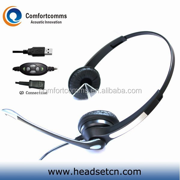 Adjustable noise cancelling usb computer call center headset with mic