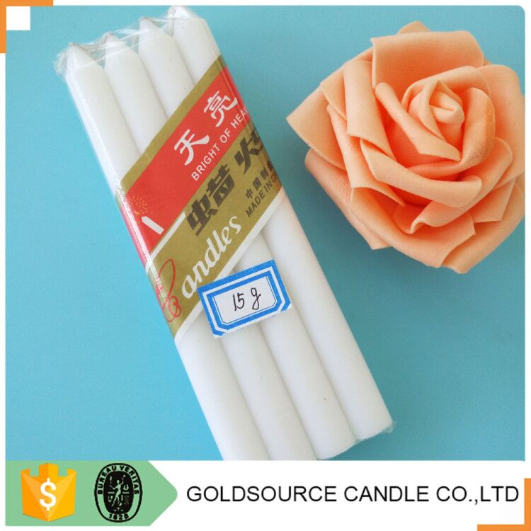 66g Cheapest White Stick Candle In Plastic Bag For Dubai