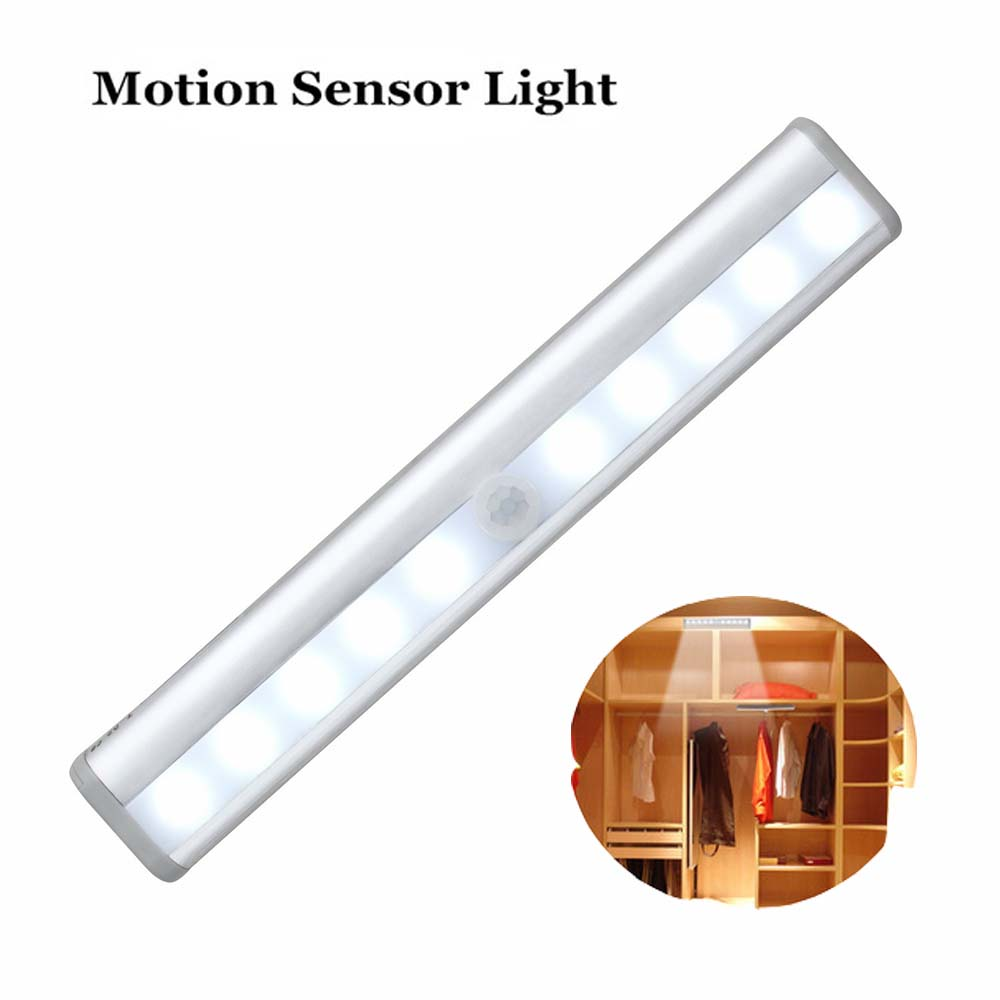 Wholes Anywhere Portable 10-LED Wireless Automatic Motion Sensing Closet Cabinet LED Night Light/Stairs Light/Step Light Bar
