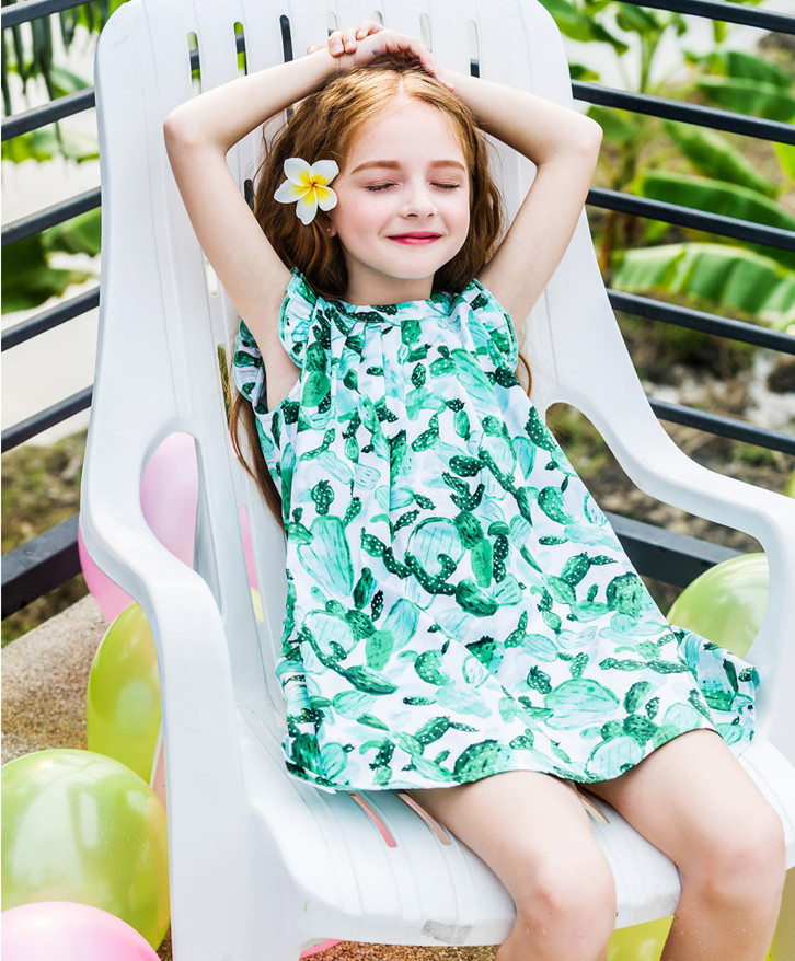 2017 Fashion summer print flower 100% cotton sleeveless girl kid dress China factory