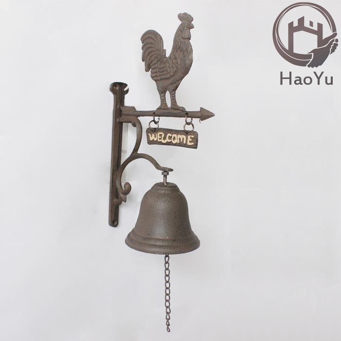 rooster shaped cast iron hanging door bell for garden decoration