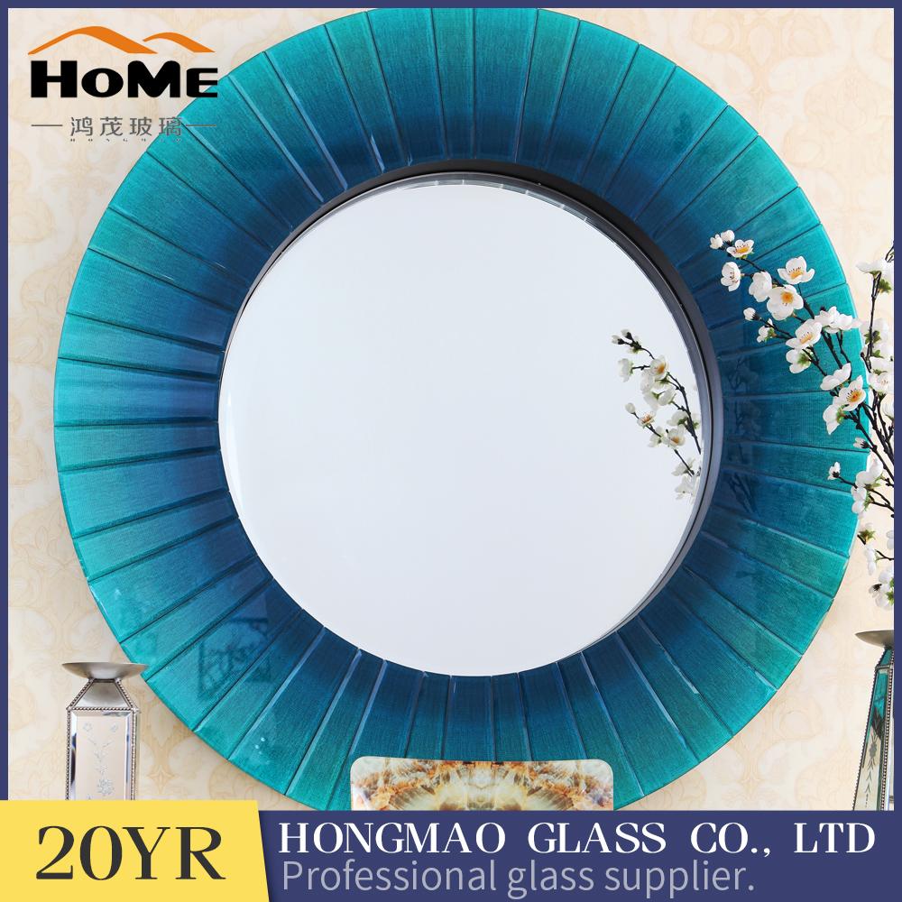 Gradual azul vidrio biselado redondo enmarcado espejo de pared ...