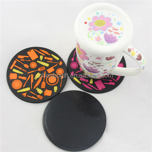100mm round shape 3d plastic rubber soft pvc coaster, rubber drink coasters