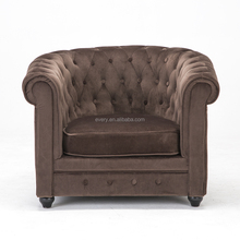 Brown Armchair Living Room Antique Chesterfield Velvet Luxury Set Sofa Chair