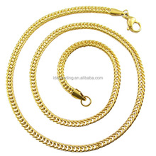 Custom 3.5MM Braided Cuban Curb Franco FOXTAIL Stainless Steel Chain Women Men 18 K Yellow Gold Filled Necklace