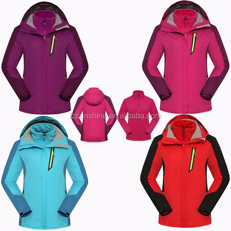 2017 Waterproof 3 in 1 Women Winter Jacket with fleece jacket inside
