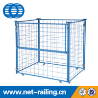 Metal warehouse storage powder coat wire mesh crate/cage pallet