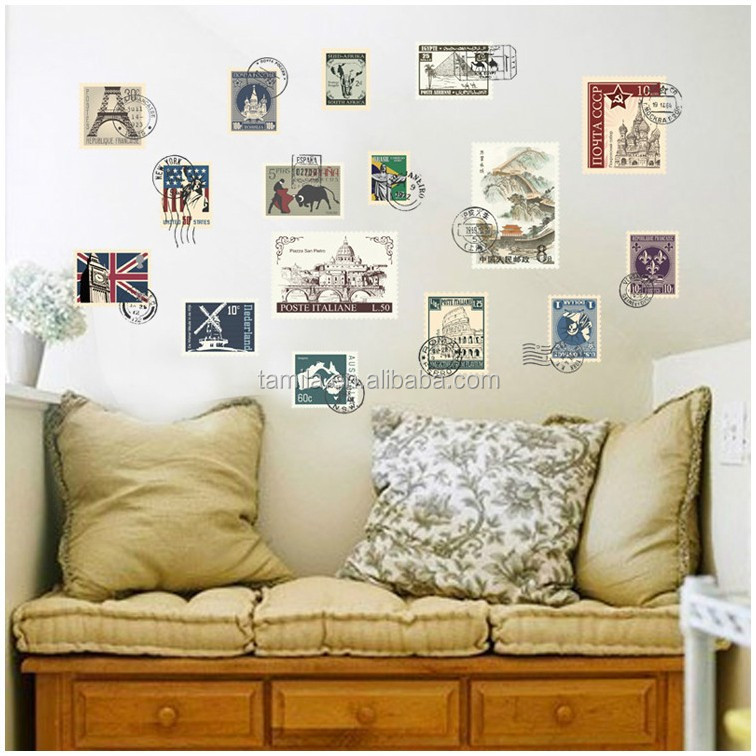 Wall stickers home decor Creative World Travel stamps background fashion Decoration lilving room sitting room wall stickers